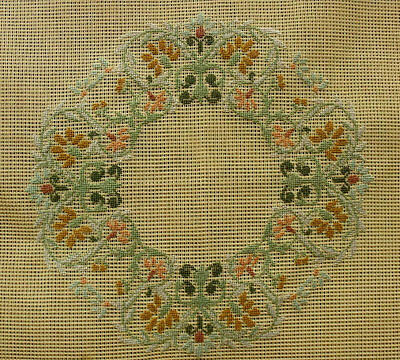 """ANTIQUE 23"""" Mint French Vintage PREWORKED Needlepoint Canvas PETIT POINT Wreath"""