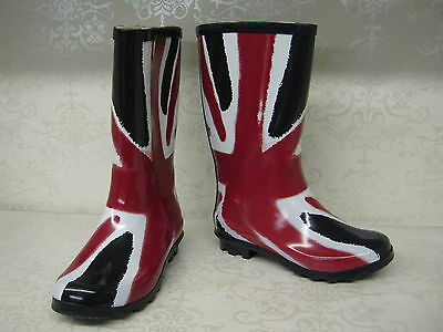 Girls X1174 Funky Red White /& Blue Union Jack Print Wellies