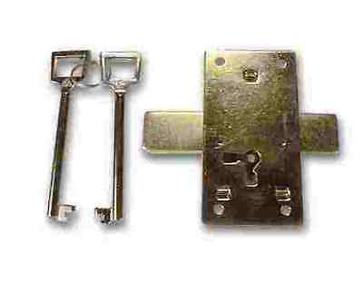 "BRASS PLTD SURFACE MNT LOCK  w/ 2 Keys 1 1/2"" wide X 3"" tall X 3/8"" deep,K41-20"