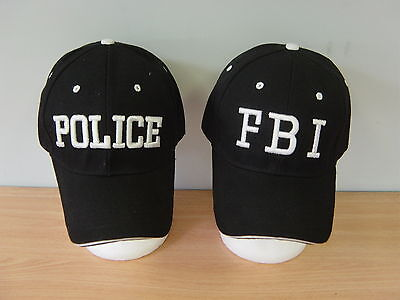 Black FBI Police SWAT Caps Baseball Caps Hats Fancy Dress Book Week