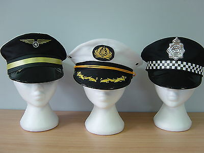 Pilot Navy Captain Police Cap Hats Party Fancy Dress