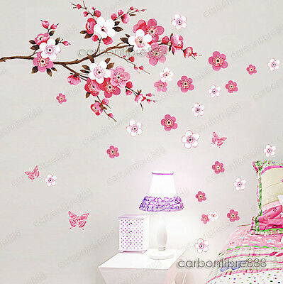 Large Peach Blossom Flower Butterfly Wall Stickers Art Decal Home Room Decor
