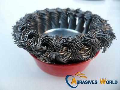 """1PCS 3"""" (75mm) M10 NUT TWISTED KNOT STEEL CUP WIRE BRUSH FOR 4"""" (100mm) GRINDER"""