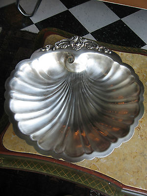 Vtg Semi Antique Wallace Baroque Silver Plated Large Shell Bon Bon Tray / Dish