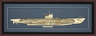 Wood Cutaway Model of a Type VII-C  German U-Boat - Made in the USA