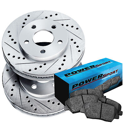 Fit 2006-2010 Lexus GS300 IS250 Front Rear PowerSport Gold Slotted Brake Rotors