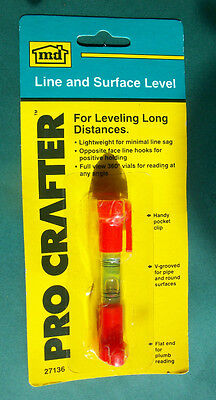 Pro Crafter Handy Lightweight Plastic LINE & SURFACE LEVEL w/ Pocket Clip *NIP*