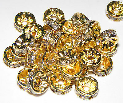 100pcs shiny golden clear crystal rhinestone rondelle spacer beads
