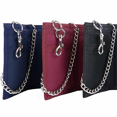 NEW Mens Boys QUALITY Wallet Canvas SECURITY CHAIN & Clip BLACK RED BLUE
