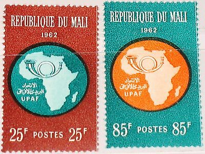 MALI 1962 51-52 36-37 Establishment African Postal Union UPAF Map of Africa MNH