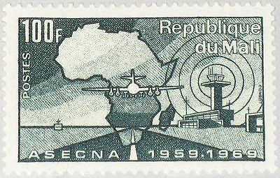 MALI 1969 215 130 ASECNA 10 Ann Flugsicherheitsdienst Air Safety Tower Plane MNH