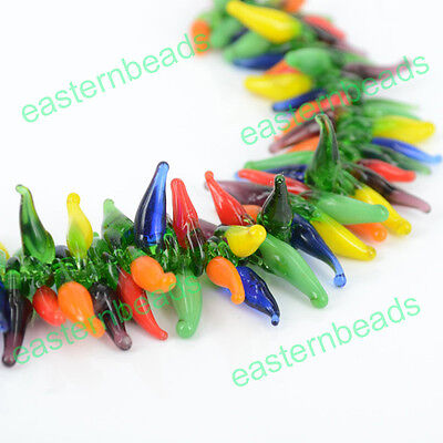 Wholesale Lots Charm Handmade Lampwork Hot Pepper Multi Chili Glass Loose Beads