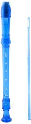 D'Luca Student 3 Pieces Recorder Flute Blue with Cleaning Rod, MR-100-BL