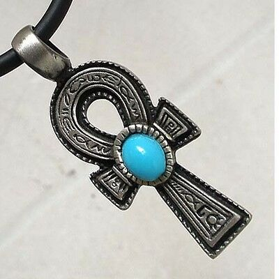 PAGAN TURQUOISE ANKH Cross of life Egyptian Silver Pewter Pendant/Charm/Amulet