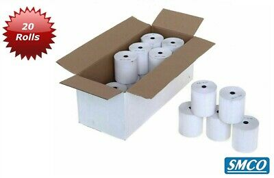 SMCO QTY 20 57x40 CREDIT CARD PDQ & TILL THERMAL PAPER 20 ROLLS 57x40x12.7mm