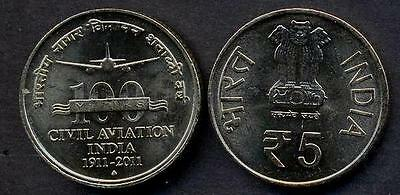 INDIA 5 Rupees 2011 100 Years Civil Aviation UNC