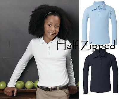 French Toast Girls Long Sleeve Picot Polo Shirt A9424 School Uniform 4-18 SALE