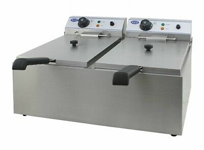 NEW Double Large Basket Electric Fryer 17L tank 10-12l oil fill capacity