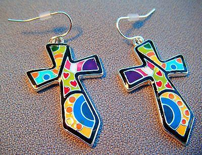 Cross Patchwork Dangling Pierced Fish hook Earrings-Multi Colored-1 3/4 Inches