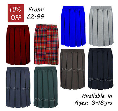 Girls School Skirt Pleated Elasticated Black Grey Navy Brown Green Smart Formal