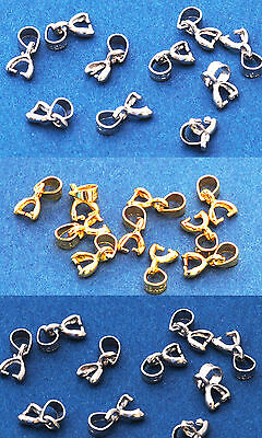 10 x Pinch Bails for Crystal 10mm Heart / Small Crystal Pendants - choose colour