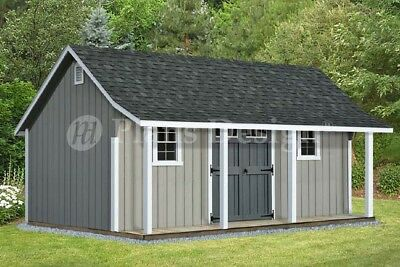 14' x 20' Cape Code Storage Shed with Porch Plans #P81420, Free Material List