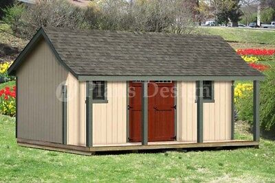16x20 ft Guest House Storage Shed with Porch Plans #P81620, Free Material List