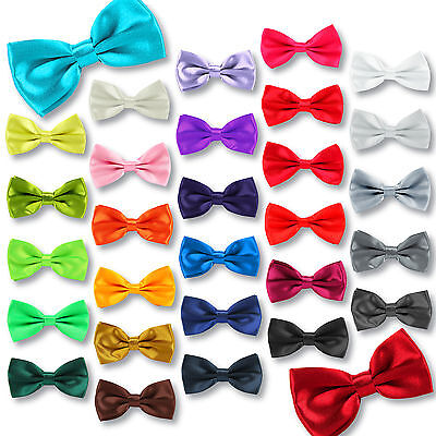 Satin Mens Pre Tied Bow Ties Wedding Party Fancy Plain Necktie Dickie Adjustable