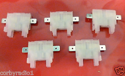 5 Inline White Heavy Duty Fuse Holder 40A Blade Type Push Connector Hgv Taxi