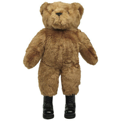 TEDDY BEAR with COMBAT PATROL BOOTS ARMY MILITARY STYLE LARGE SOFT TOY BROWN