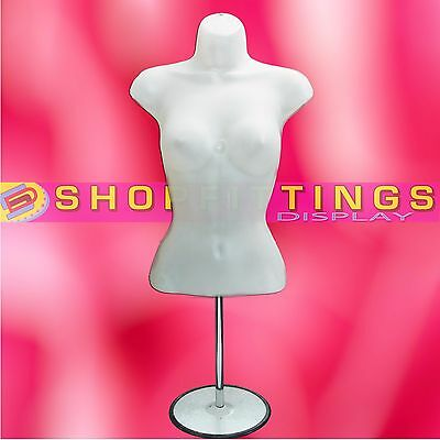 Female Mannequin Half Bust Display Lingerie with Chrome Stand 3/4 - SEMI CLEAR