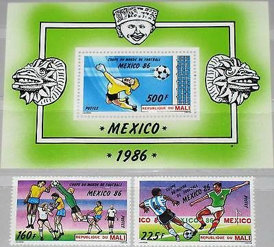 MALI 1986 1068-69 Block 26 535-7 Soccer World Cup Mexico Fußball WM Football MNH