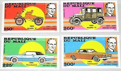 MALI 1987 1089-92 546-49 40th Death Ann Henry Ford Autos Cars Manufacturer MNH