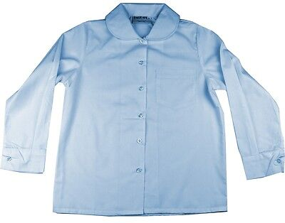 Girls School Shirt Sky Blue Size 8 Peter Pan Rounded Collar Long Sleeve New!