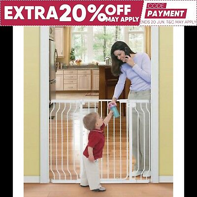 Child Safety Gate Extra Tall Walk-Thru Gate Security Stair Barrier Auto 121CM
