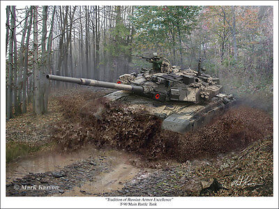 """Tradition of Russian Armor Excellence"" Mark Karvon Print - T-90 MBT Battle Tank"