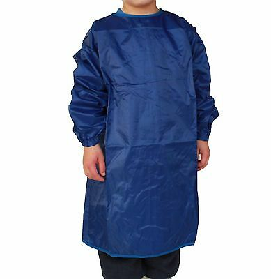 Boys Plain Blue Long Sleeve Art Craft Smock Apron Polyester Size 3-5 & 6-9 New