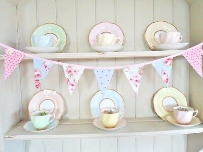 BUNTING Designer Fabric Vintage Home Party Decorations Antique White Rose *SALE*