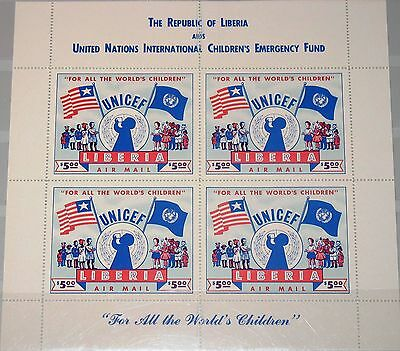 LIBERIA 1954 Klb 460 II MS C77 UNICEF Kinder Hilfsfonds Flags Children MNH R !