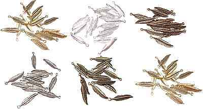 Charm Drop Copper Silver Gold Brass 18x4mm 18mm Feather Feathers,  20 or 100 Qty