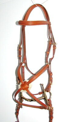 FSS German COMFORT Padded Poll Mexican Ring Grackle Figure 8 Noseband Bridle TAN
