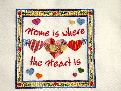 Home Is Where the Heart Is Embroidered Kitchen Towel