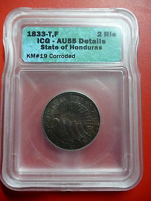 HONDURAS SILVER COIN 2 REALES KM 19 1833 AU55 Corroded - ICG Certification