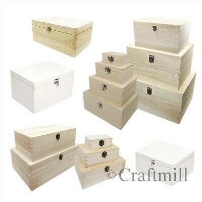 Plain Wood Wooden Rectangular Hinged Storage & Christmas Eve Boxes - choose size