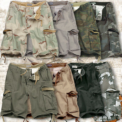 Surplus Vintage Mens Military Style Army Combat Cargo Shorts 100% Washed Cotton