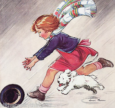 THOMAS Girl w- Dog Chasing Hat Vintage 1936 Matted MAGAZINE Cover Picture Print
