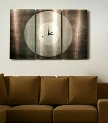 Large Modern Metal Wall Art Clock 3 Panels Grey Contemporary  Decor Jon Allen