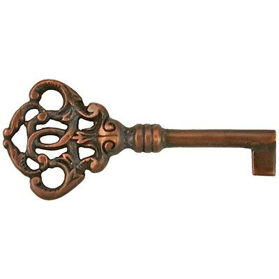 Ky- 9Ac  Antique Copper Plate Reproduction Solid Brass Fancy Key