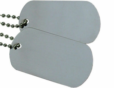 Military Spec. Army Blank Matte Dog Tag Set w/ Stainless Steel Ball Chains