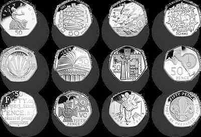 Rare UK and Great Britain commemorative 50p coins all in good condition